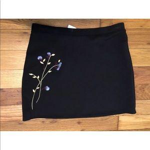 Express black embroidered mini skirt